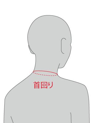 ネックライン(首付根周り)の測り方